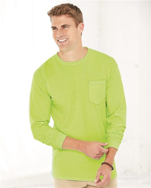 Bayside 3055 Union-Made Long Sleeve T-Shirt with a Pocket Model Shot