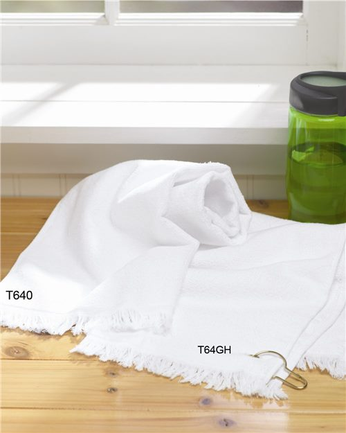 Towels Plus T64GH Fringed Hand Towel with Corner Grommet and Hook Model Shot