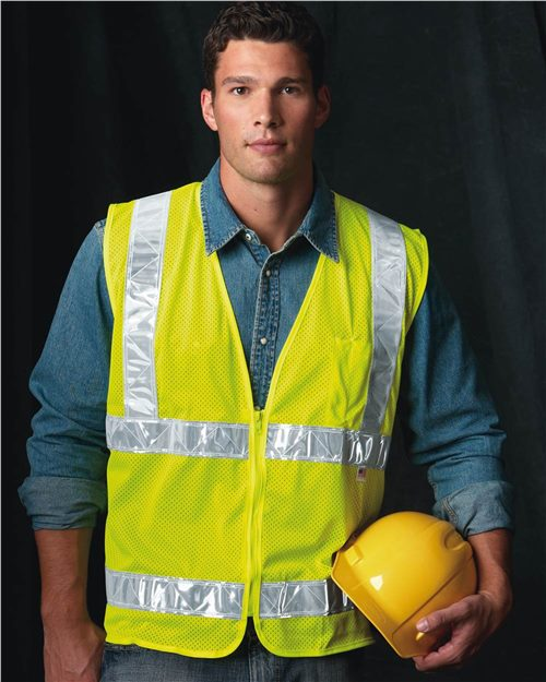 Bayside 3785 USA Made Mesh Safety Vest Model Shot