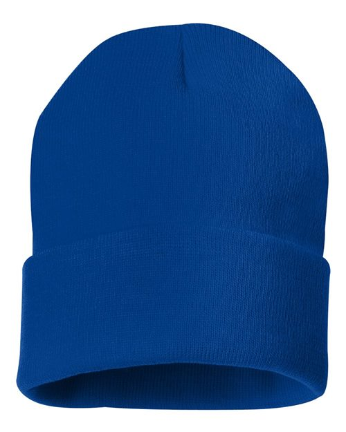 "Sportsman SP12 12"" Solid Knit Beanie Model Shot"