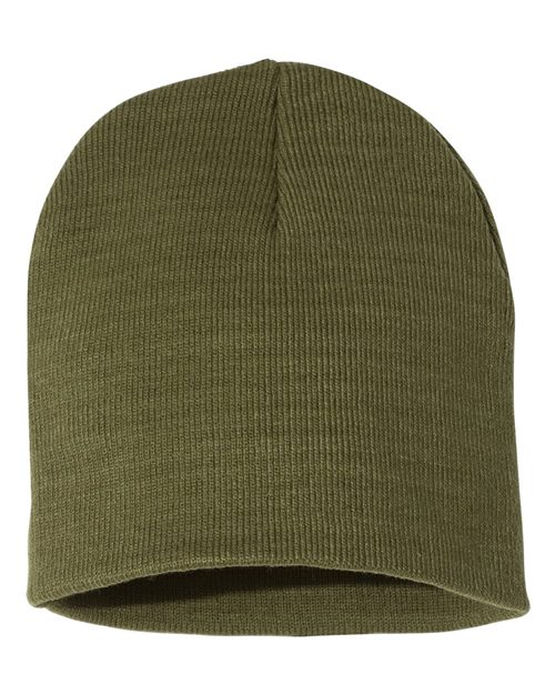 "Bayside 3810 USA-Made 8½"" Inch Knit Beanie Model Shot"