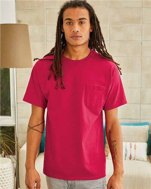 Hanes 5590 Tagless® Short Sleeve Pocket T-Shirt Model Shot