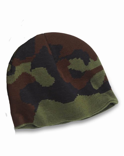 Bayside 3820 USA Made Camouflage Knit Beanie Model Shot