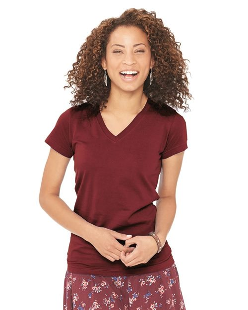 LAT 3607 Junior Fit V-Neck Fine Jersey Tee Model Shot