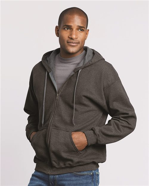 Gildan 18700 Heavy Blend™ Vintage Full-Zip Hooded Sweatshirt Model Shot