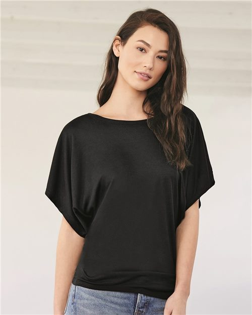 Bella + Canvas 8821 Women's Flowy Draped Short Sleeve Dolman Tee Model Shot