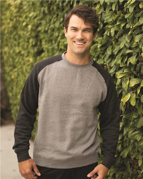 Independent Trading Co. IND30RC Fitted Raglan Crewneck Sweatshirt Model Shot