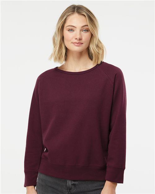 Independent Trading Co. SS240 Juniors' Heavenly Fleece Lightweight Sweatshirt Model Shot