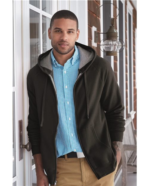 Hanes N280 Nano Hooded Full-Zip Sweatshirt Model Shot