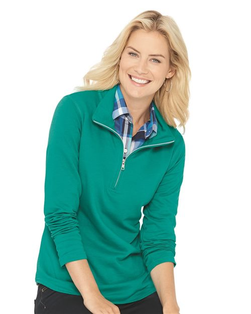 LAT Women's Quarter Zip French Terry Pullover