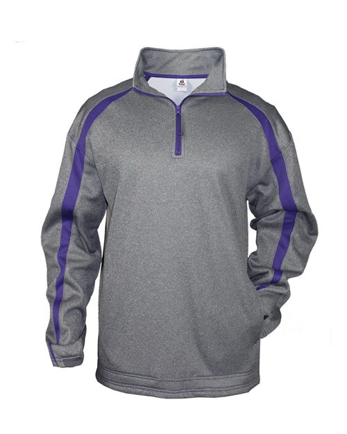 Badger 1481 Pro Heather Fusion Performance Fleece Quarter-Zip Pullover Model Shot