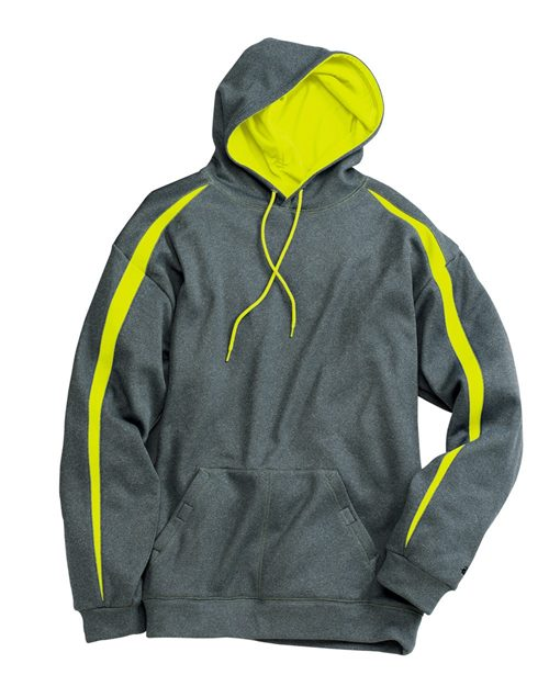 Badger 1467 Pro Heather Fusion Performance Fleece Hooded Pullover Model Shot