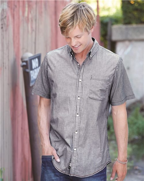 Burnside 9259 Stretch-Stripe Short Sleeve Shirt Model Shot