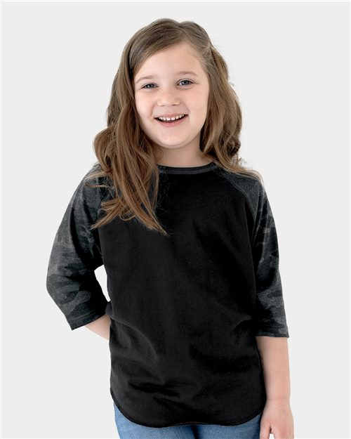 LAT 6130 Youth Baseball Fine Jersey Three-Quarter Sleeve Tee Model Shot
