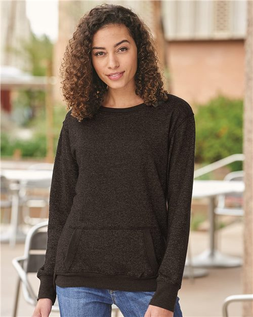 J. America 8867 Women's Glitter French Terry Sweatshirt Model Shot