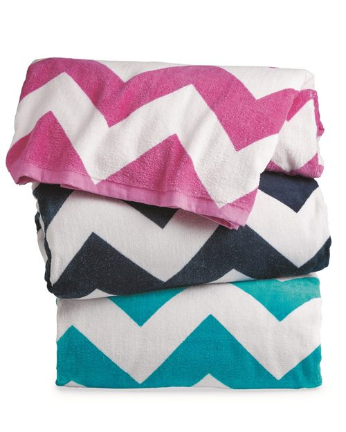 Carmel Towel Company C3060X Chevron Velour Beach Towel Model Shot