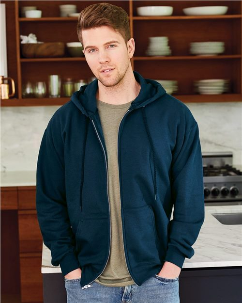 Hanes F280 Ultimate Cotton® Full-Zip Hooded Sweatshirt Model Shot
