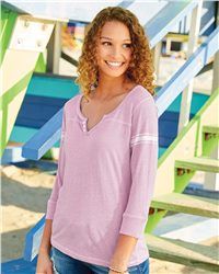MV Sport Women's Hailey Henley Three-Quarter Sleeve Shirt