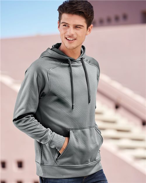 J. America 8670 Volt Polyester Hooded Sweatshirt Model Shot