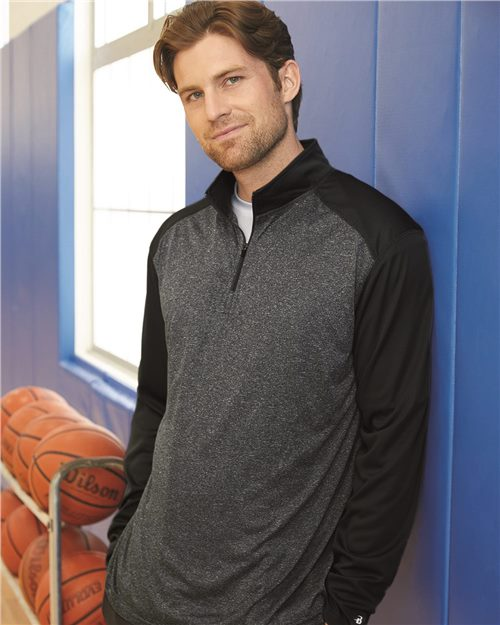 Badger 4394 Pro Heather Quarter-Zip Pullover Model Shot