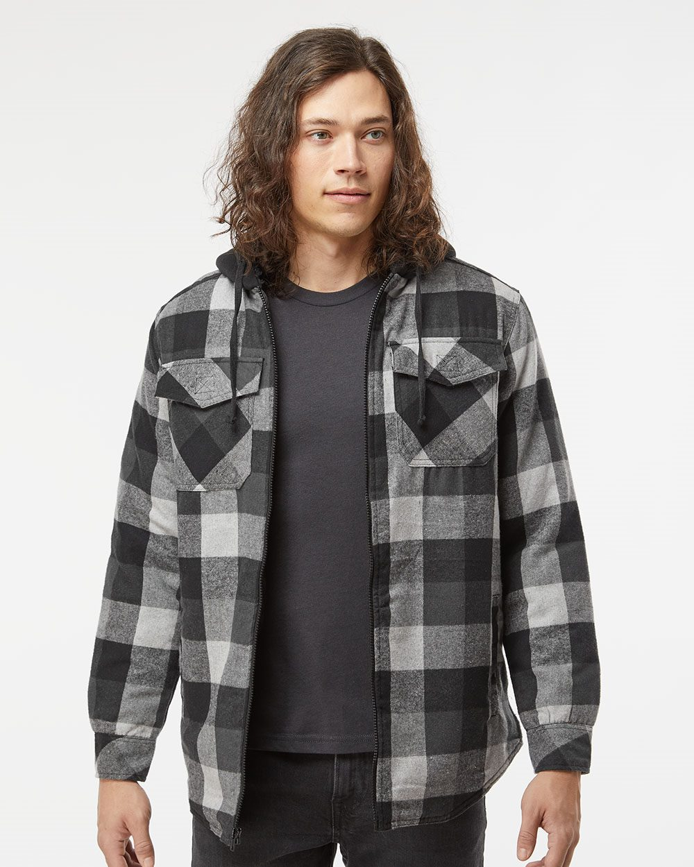 Burnside Mens 8620 Plaid Quilted Lined Flannel Full-Zip Hooded Jacket
