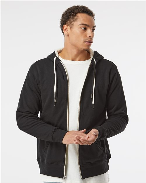 Independent Trading Co. EXP90SHZ Unisex Sherpa-Lined Hooded Sweatshirt Model Shot