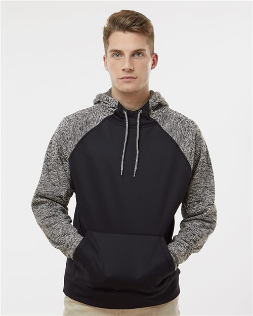 J. America 8612 Colorblocked Cosmic Fleece Hooded Sweatshirt Model Shot