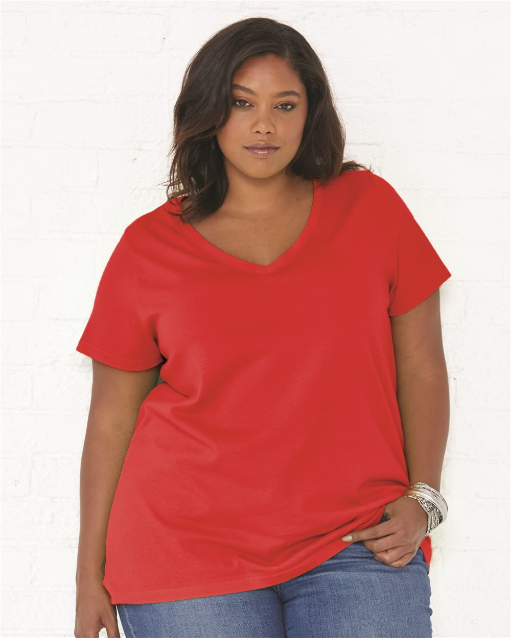 LAT Curvy Collection Women's Premium Jersey V-Neck Tee