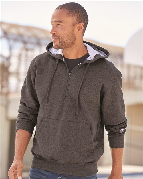 Champion S185 Cotton Max Hooded Quarter-Zip Sweatshirt Model Shot