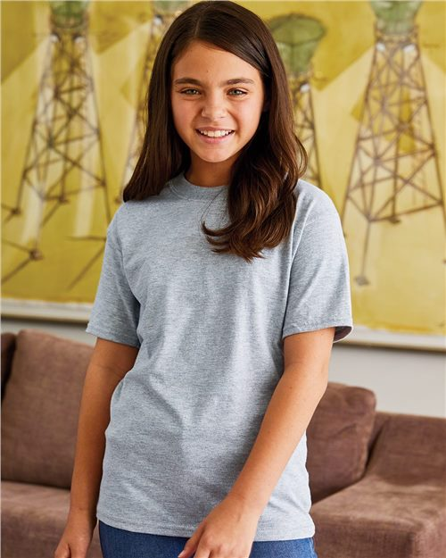 Hanes 5380 Beefy-T® Youth Short Sleeve T-Shirt Model Shot