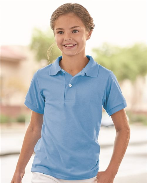 JERZEES 437YR Youth SpotShield™ 50/50 Sport Shirt Model Shot