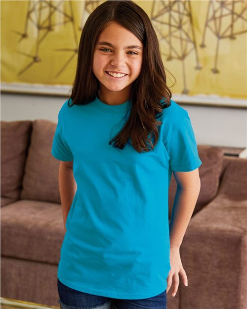 Hanes 5450 Tagless Youth T-Shirt Model Shot