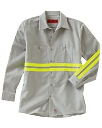 Red Kap Long Sleeve Enhanced Visibility Industrial Work Shirt