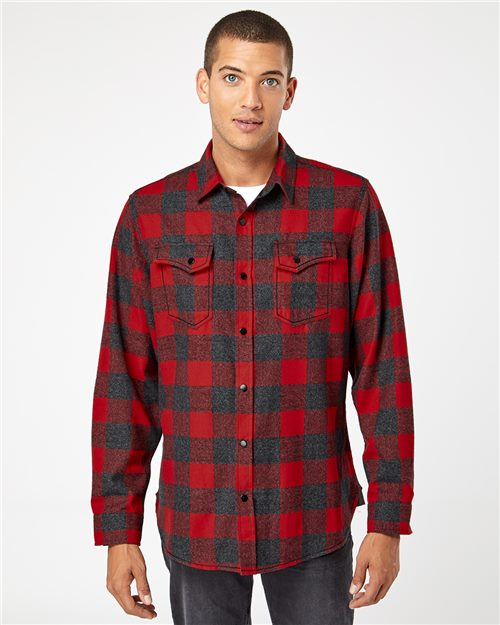 Burnside 8219 Snap Front Long Sleeve Plaid Flannel Shirt Model Shot
