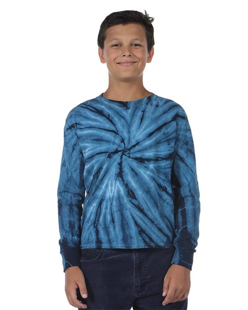 Dyenomite 24BCY Youth Cyclone Tie Dye Long Sleeve T-Shirt Model Shot