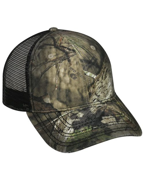 Outdoor Cap OSC100M Oil-Stained Camo Mesh-Back Trucker Cap Model Shot