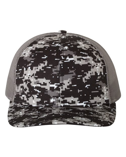 Richardson 112P Patterned Snapback Trucker Cap Model Shot