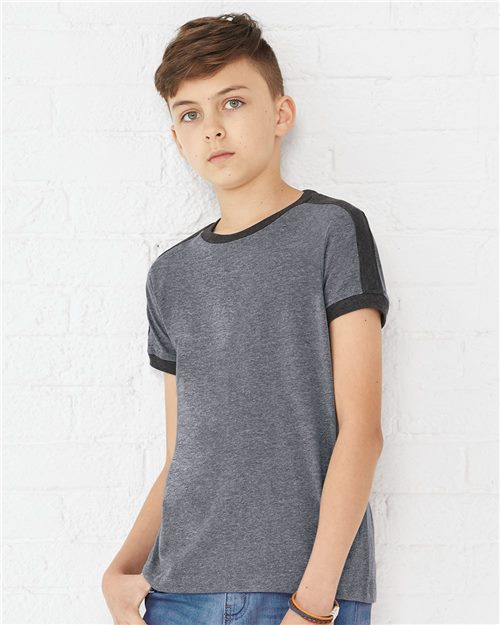 LAT 6132 Youth Retro Ringer Fine Jersey Tee Model Shot