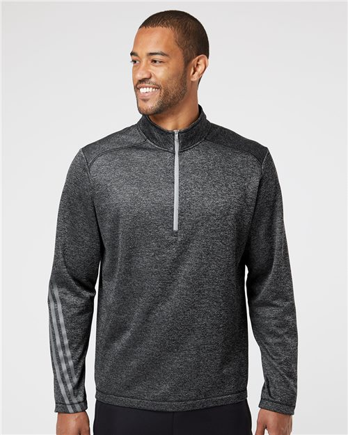 Adidas A284 Brushed Terry Heathered Quarter-Zip Pullover Model Shot