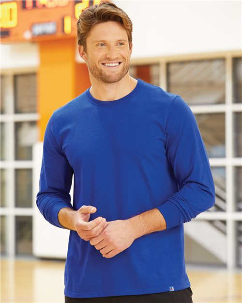 Russell Athletic 64LTTM Essential 60/40 Performance Long Sleeve T-Shirt Model Shot