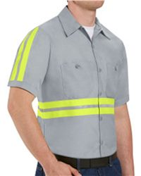 Red Kap Enhanced Visibility Industrial Work Shirt Long Sizes