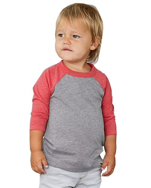 BELLA + CANVAS 3200T Toddler Three-Quarter Sleeve Baseball Tee Model Shot