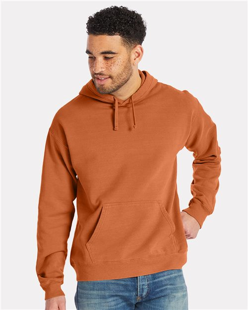 ComfortWash by Hanes GDH450 Garment Dyed Unisex Hooded Pullover Sweatshirt Model Shot