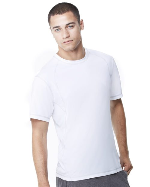 All Sport M1021 Short Sleeve Pieced Interlock T-Shirt Model Shot