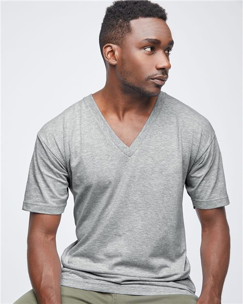 American Apparel 2456W Fine Jersey V-Neck Tee Model Shot