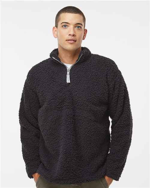 J. America 8454 Sherpa Quarter-Zip Pullover Model Shot