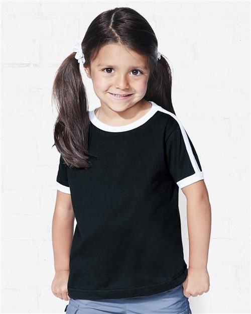 Rabbit Skins 3032 Toddler Retro Ringer Fine Jersey Tee Model Shot