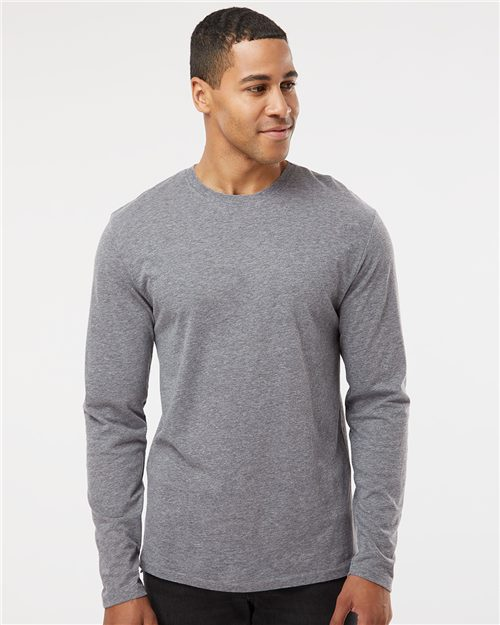 LAT 6918 Forward Shoulder Long Sleeve Fine Jersey Tee Model Shot