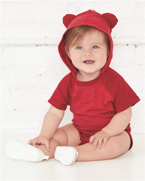 Rabbit Skins 4417 Fine Jersey Infant Short Sleeve Raglan Bodysuit with Hood & Ears Model Shot