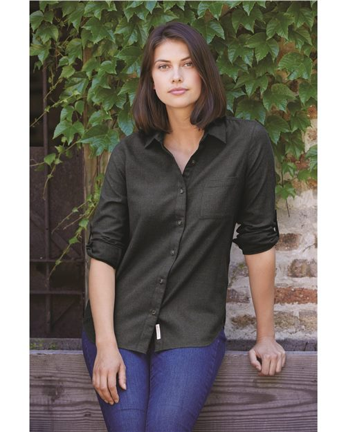 Weatherproof W198306 Women's Vintage Brushed Flannel Solid Shirt Model Shot
